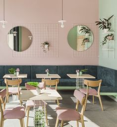 Modern Furniture, Furniture Design, Kid Furniture, Plywood Furniture, Color Menta, Small Cafe Design, Pastel Interior, Cafe Interior Design, Concrete Design