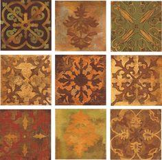 Mosaic Abstract Tuscan Art Tile Set