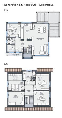 Grundriss Einfamilienhaus mit Garage 6 Zimmer, 220 qm