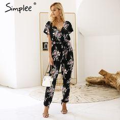 aef5e01ad3a DREAM EMARKET Simplee Vintage floral print boho jumpsuit romper V neck  short sleeve casual jumpsuit Loose sash summer jumpsuit women overalls