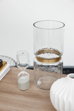 Hubsch Clear Glass Vase with Brass Ring - Hubsch - BRANDS  Clear glass vase with brass detail by Danish brand Hubsch. A stunning vase for your home. Makes a lovely gift too.  #hubsch #glassvase #scandinavianhomeware #beautifulgifts #homeandpantry
