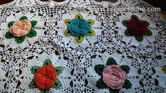 Toalha de Mesa em croche - Jardim Florido - Detalhes
