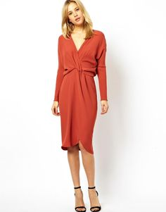Asos Pencil Dress With Knot Front And Batwing Sleeves on shopstyle.com