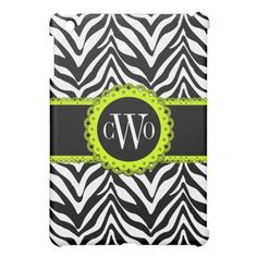Chic Zebra Print and Lime Green Lace Monogram Cover For The iPad Mini