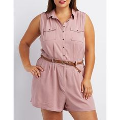 Charlotte Russe Button-Up Shirt Cargo Romper ($29) ❤ liked on Polyvore featuring plus size women's fashion, plus size clothing, plus size jumpsuits, plus size rompers, purple taupe, plus size jumpsuits rompers, playsuit romper, red rompers, ruffle romper and red braided belt