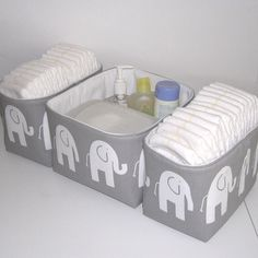 Set of 3 Gray and White Ele Elephant Fabric Organizer Bins Baskets Diaper Caddy.