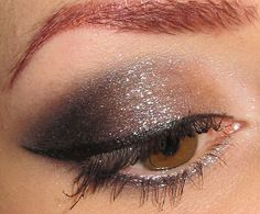 White, Silver and Black Sparkly Eye Makeup Look