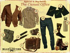 """Art of Manliness: The Casual Office #menswear This is what I call a """"Melissa Trap""""...if I saw a guy wearing this stuff I'd run because he would have to be bad news."""