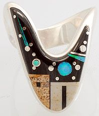 Ring   Calvin Begay (Navajo). 'Pueblo' Silver with scenic inlay of black onyx, lab opal, Picasso marble and sterling silver.
