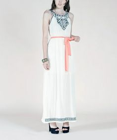 Take a look at this Ivory Yoke Maxi Dress by Flying Tomato on #zulily today!