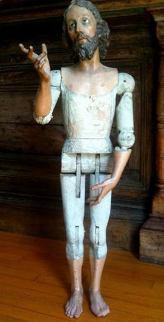 """""""Resurrected Christ"""", Guatemala, Carved polychromed wood, Circa 1875, H. 36 inches."""