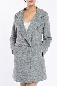 Stylish Lapel Neck Long Sleeve Solid Color Pocket Design Coat For WomenCoats | RoseGal.com