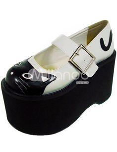 Cute White And Black 3 9/10'' High Heel PU Lolita Shoes - Milanoo.com
