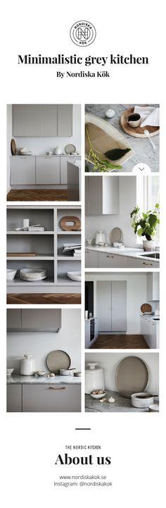 Nordiska Kök - Grey minimalist Nordic design kitchen with a marble countertop. Get more kitchen inspiration and Scandina Scandinavian Design, Nordic Design, Küchen Design, Design Trends, Modern House Design, Modern Interior Design, Nordic Kitchen, Open Kitchen, Kitchen Island