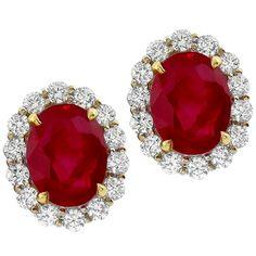 White Gold Burmese Ruby and Diamond Earrings for Sale Gold Diamond Earrings, Ruby Earrings, Ruby Jewelry, Diamond Jewelry, Gold Jewelry, Dangle Earrings, Gold Bracelets, Vintage Jewelry, Fine Jewelry