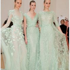 Mint green wedding dress. Ok, now I MUST get married, only for the opportunity to wear a mint green wedding dress.