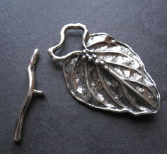 Leaf Berry Toggle Clasp  Solid Sterling Silver  by lilysoffering, $22.58