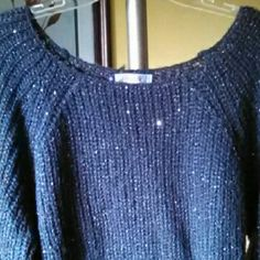 Jennifer Lopez Dark Gray Metallic Knit Sweater Dark gray metallic knit sweater with silver sequins in good condition! Hand wash cold & dry flat. Jennifer Lopez Sweaters Crew & Scoop Necks