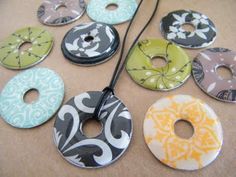 DIY washer necklace – great tutorial for how to cover washers and give them the glossy raised look.