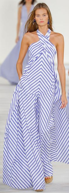 Ralph Lauren Collection Spring blue-and-white cotton broadcloth shirting striped jumpsuit women fashion outfit clothing style apparel closet ideas Estilo Fashion, Look Fashion, Runway Fashion, High Fashion, Fashion Show, Fashion Outfits, Womens Fashion, Fashion Design, Fashion Hacks