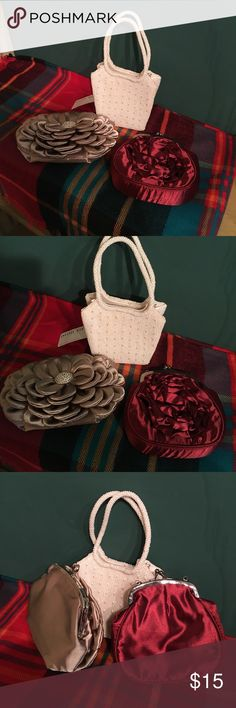 3 Dressy Handbags Three (3) Beautiful handbags, different colors, all would hold a cell phone.  Colors are taupe, burgundy, and pearl.  2 of bags have shoulder chains.  All are Brand New and never been used. No brand Bags Clutches & Wristlets