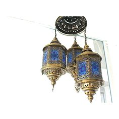 3 Lantern Mosaic Chandelier ($445) ❤ liked on Polyvore featuring home, lighting, ceiling lights, home & living, silver, colored chandeliers, painted chandelier, energy star lighting, energy saving lighting and halogen ceiling lights