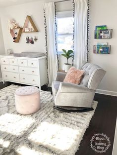 Best Baby Girl Room Ideas You Must Need to Know Baby Nursery: Easy and Cozy Baby Room Ideas for Girl and Boys Baby Bedroom, Baby Room Decor, Nursery Room, Girls Bedroom, Nursery Dresser, Bedrooms, Girl Rooms, Curtains In Nursery, Babies Rooms