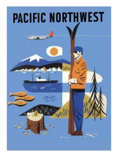 pacific northwest ~ Best place to wonder Vintage Travel Posters, Vintage Postcards, Evergreen State, Travel Ads, Washington State, Spokane Washington, Pacific Northwest, North West, North America