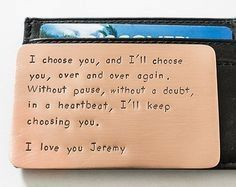 Copper Hand Stamped Anniversary Gift, Anniversary Gift for Husband, Custom Quote Message, Fits in Wallet, Anniversary Gift Note for Men Copper Wallet Insert Card Anniversary Gift for Men by RameWorks Best Anniversary Gifts, Copper Anniversary Gifts, Boyfriend Anniversary Gifts, 7th Anniversary, 1 Year Anniversary Gift Ideas For Him, Boyfriend Birthday Ideas Creative, Anniversary Scrapbook 1 Year, Anniversary Surprise For Him, Men Birthday Gifts