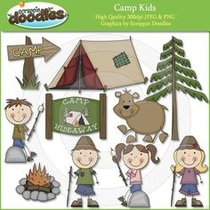 Camp Kids Clip Art by ScrappinDoodles on Etsy Camping Theme, Go Camping, Camping Ideas, Camping Cards, Camping Store, Camping Essentials, Family Camping, Used Camping Trailers, Camping Activities For Kids