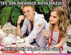 After Emma Watson (Hermione Granger) punched Tom Felton (Draco Malfoy) in the face, they've been friends ever since! #HarryPotter #Harry_Potter