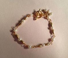 WhitePearl Bracelet Vintage Bead Jewelry by prettylittlepretties, $14.00