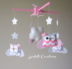 Baby Mobile - Owl Mobile - Pink and Gray Mobile - Pick your colors :) via Etsy