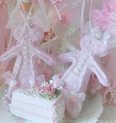 Set of 3 Candy Pink Rose Princess Gingerbread ornament Shabby Chic Doll White Bridal Lace Bow Marie Antoinette, #pink #Christmas