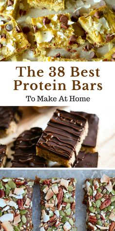 The 38 Best Homemade Protein Bars You Can Ever Make Low Carb Protein Bars, Protein Bar Recipes, Protein Powder Recipes, High Protein Snacks, Protein Foods, Gluten Free Protein Bars, Homemade Granola Bars, Homemade Protein Bars, Meal Replacement Bars