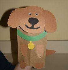 Paper bag dog puppet.