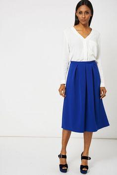 db0ff0c66f Blue Full Midi Scuba Skirt Available In plus Sizes