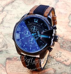 Cool Men's Watch Analog Sport Steel Case Quartz Dial Leather Wrist Watch Gift #Unbranded #Fashion