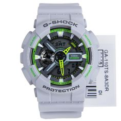 Online seller, Singapore Casio, Authorised dealer, low price, Casio G-Shock Neon Colours Grey-Green Mens Watch GA-110TS-8A3 GA-110TS G Shock Watches, Casio G Shock, Watches For Men, Casio Watch, Green And Grey, Singapore, Gray Color, Neon, Skin Care