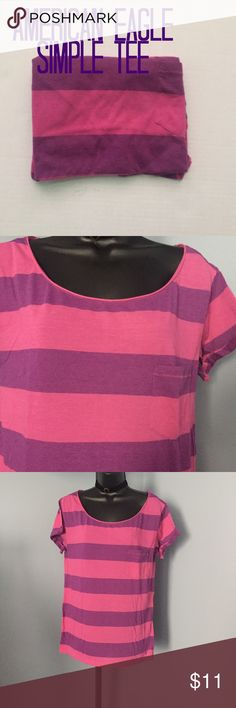 AE simple tee Pre loved with no rips or stains. American eagle simple pocket tee. Feather light pink and purple striped top. Size large. American Eagle Outfitters Tops Tees - Short Sleeve