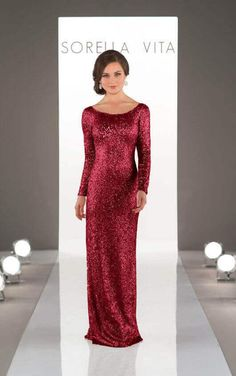 A bridesmaid dress for when only the most glamorous gown will do, elegant long sleeved sequin bridesmaid dress from the Sorella Vita Modern Metallic collection will bring head-turning style to your bridal party. Gold Mermaid Prom Dresses, Sparkly Bridesmaid Dress, Sparkly Prom Dresses, Prom Dresses Long With Sleeves, Bridesmaid Gowns, Bridal Lace, Burgundy Wedding, Red Wedding, Wedding Decor