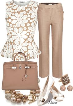 """Beige and White"" by mrsbro ❤ liked on Polyvore"