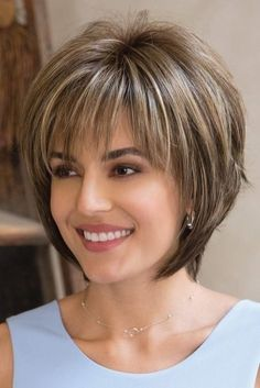 Reese PM by Noriko Wigs - Partial Monofilament Wig. Love the cut for short hair. Hairstyles Reese PM by Noriko Wigs - Partial Monofilament Wig Hairstyle For Chubby Face, Short Hairstyles For Thick Hair, Short Layered Haircuts, Layered Bob Hairstyles, Haircut For Thick Hair, Short Hair Styles Easy, Short Hair With Layers, Hairstyles With Bangs, Easy Hairstyles