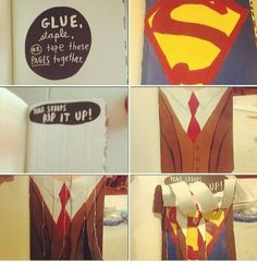 wreck this journal ideas  I LOVE THIS ONE ! ! SUPERMAN ! !