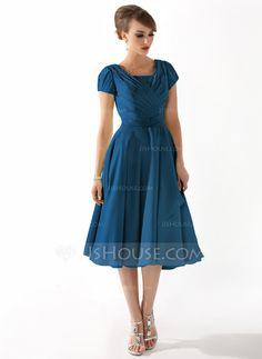 Karen  A-Line/Princess Square Neckline Knee-Length Chiffon Mother of the Bride Dress With Ruffle Beading (008005918) - JJsHouse