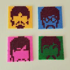 The Beatles coasters perler beads by nursenturkdesignbynunu