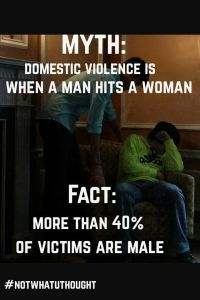Men can be victims of domestic abuse. It is under-reported because there is still a stigma àttached. Men don't want to admit that their partners, male or female, have physically, verbally or emotionally abused them. They might think it makes them look weak. According to the National Coalition Agains