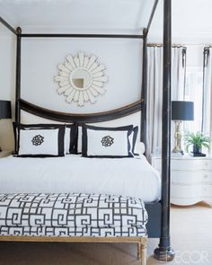 In the master bedroom of an Atlanta home by Suzanne Kasler the Rose Tarlow-Melrose House's Prince Charles bed is from Ainsworth- Noah & Associates; the Richelieu bench, by Nancy Corzine, is upholstered in Jennifer Robbins's Embroidered Palace silk from Renfroe.    - ELLEDecor.com