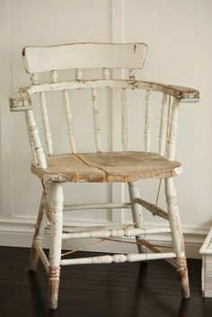 Distressed white look for corner chair or bedside table