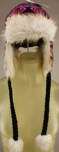Roxy Heirloom faux fur lined beanie with braided ties Branded Wallets 21376bc1a98a